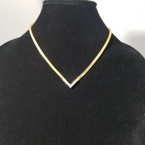 Gold Tone Cubic Zirconia V-Neck Necklace